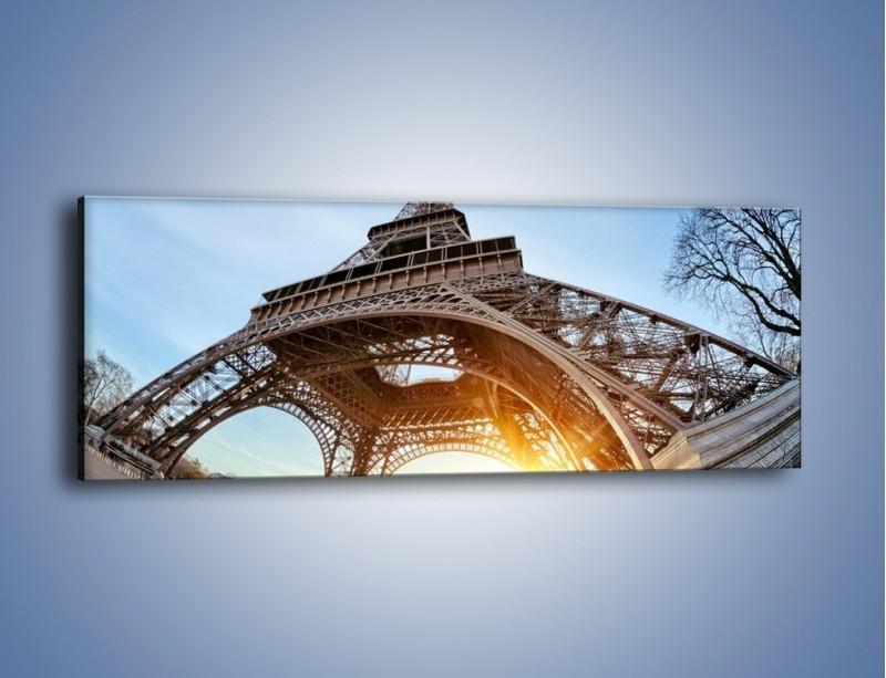 Obraz na płótnie – Wieża Eiffla w słońcu – jednoczęściowy panoramiczny AM403
