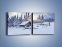 Obraz na płótnie – Chatka zatopiona w śniegu – dwuczęściowy kwadratowy poziomy KN696