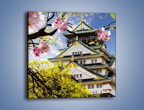 Obraz na płótnie – Zamek Ōsaka wśród kwiatów – jednoczęściowy kwadratowy AM704