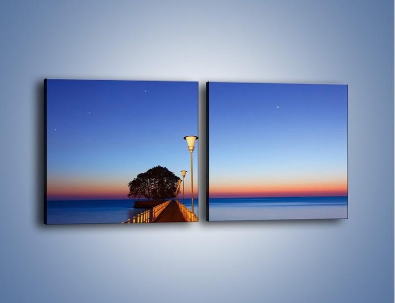 Obraz na płótnie – Wieczorny spacer po tafli morza – dwuczęściowy kwadratowy poziomy KN759