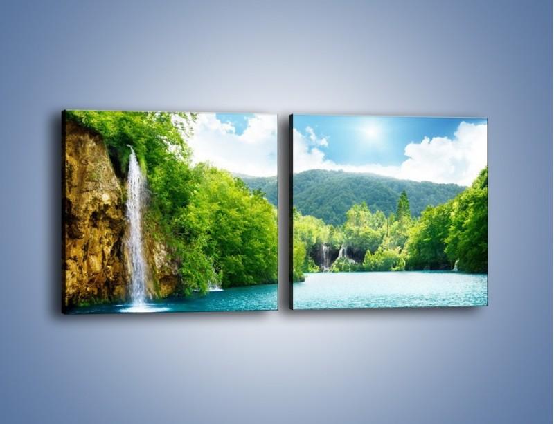 Obraz na płótnie – Cały urok górskich wodospadów – dwuczęściowy kwadratowy poziomy KN769
