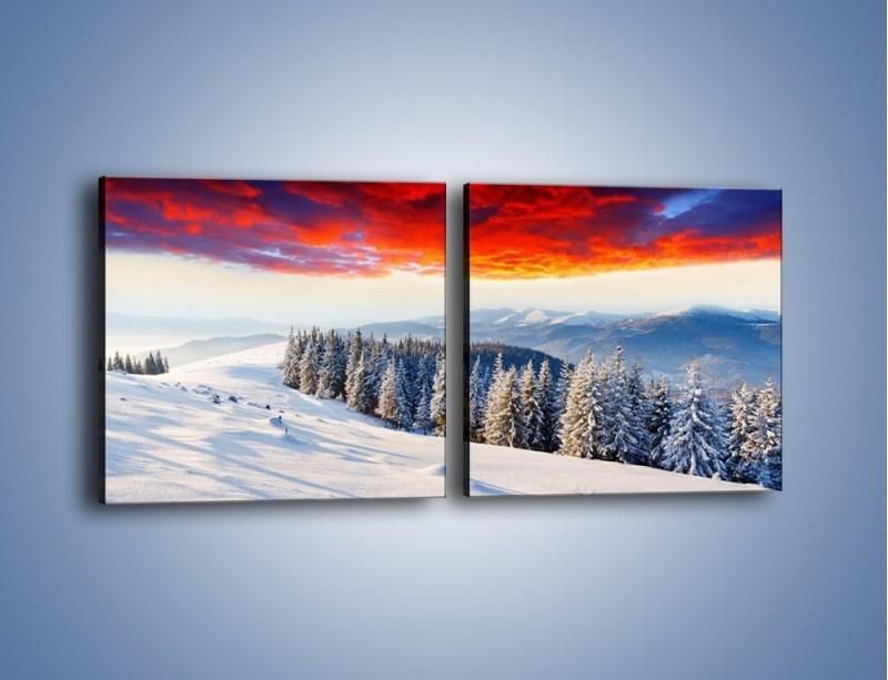 Obraz na płótnie – Cały urok gór zimą – dwuczęściowy kwadratowy poziomy KN805