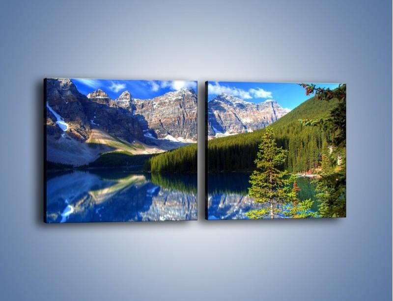Obraz na płótnie – Góry i ich wodne odbicie – dwuczęściowy kwadratowy poziomy KN839