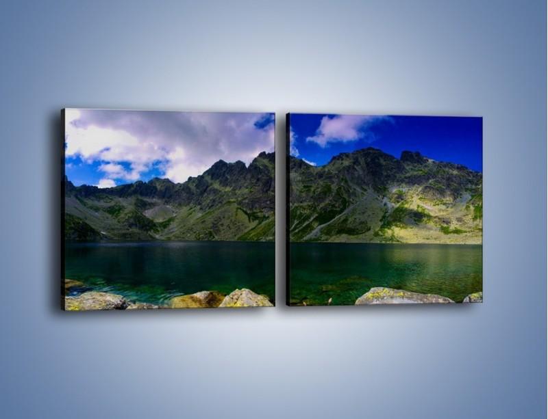 Obraz na płótnie – Horyzont górskich szczytów – dwuczęściowy kwadratowy poziomy KN856