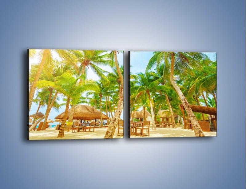 Obraz na płótnie – Słoneczna sjesta pod palmami – dwuczęściowy kwadratowy poziomy KN886
