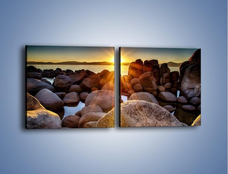 Obraz na płótnie – Kamienna wyspa w słońcu – dwuczęściowy kwadratowy poziomy KN888