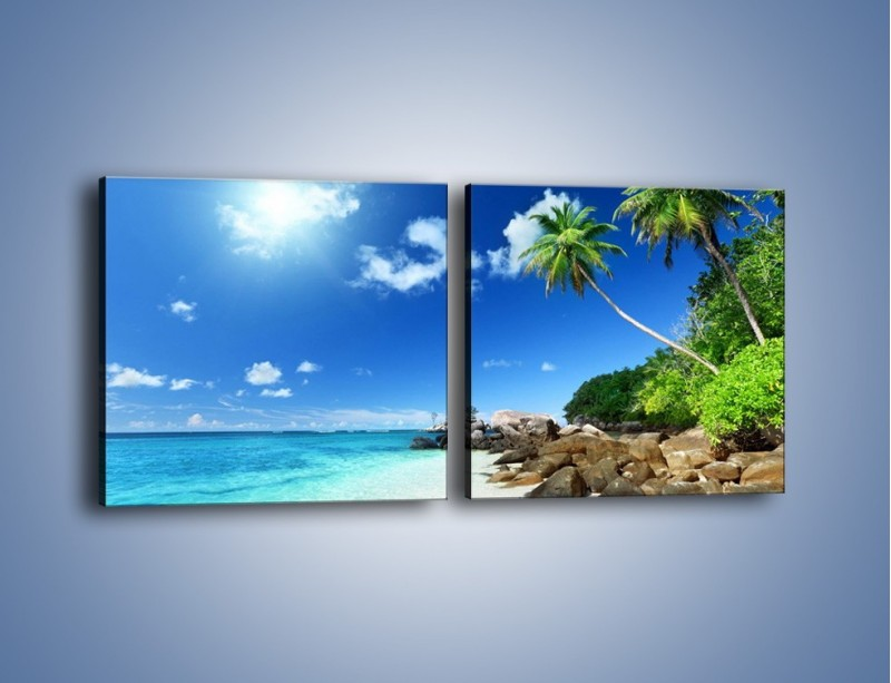 Obraz na płótnie – Rajska plaża i jej piękno – dwuczęściowy kwadratowy poziomy KN963