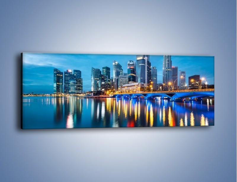 Obraz na płótnie – Kolorowe światła Singapuru – jednoczęściowy panoramiczny AM408