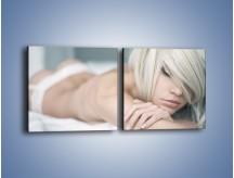 Obraz na płótnie – Biel idealna do łóżka – dwuczęściowy kwadratowy poziomy L024