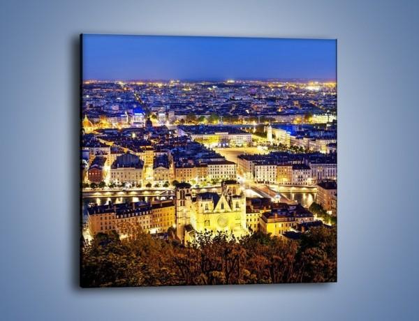 Obraz na płótnie – Nocna panorama Lyonu – jednoczęściowy kwadratowy AM707