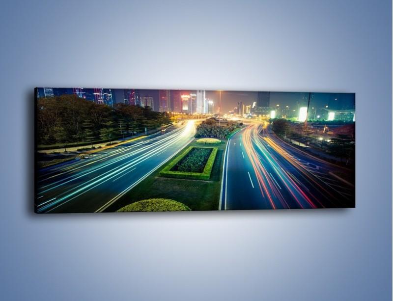 Obraz na płótnie – Uliczne światła Szanghaju – jednoczęściowy panoramiczny AM409