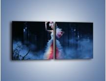 Obraz na płótnie – Biała księżniczka w ponurym lesie – dwuczęściowy kwadratowy poziomy L102