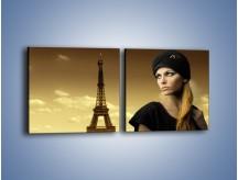 Obraz na płótnie – Czarna dama w paryżu – dwuczęściowy kwadratowy poziomy L114
