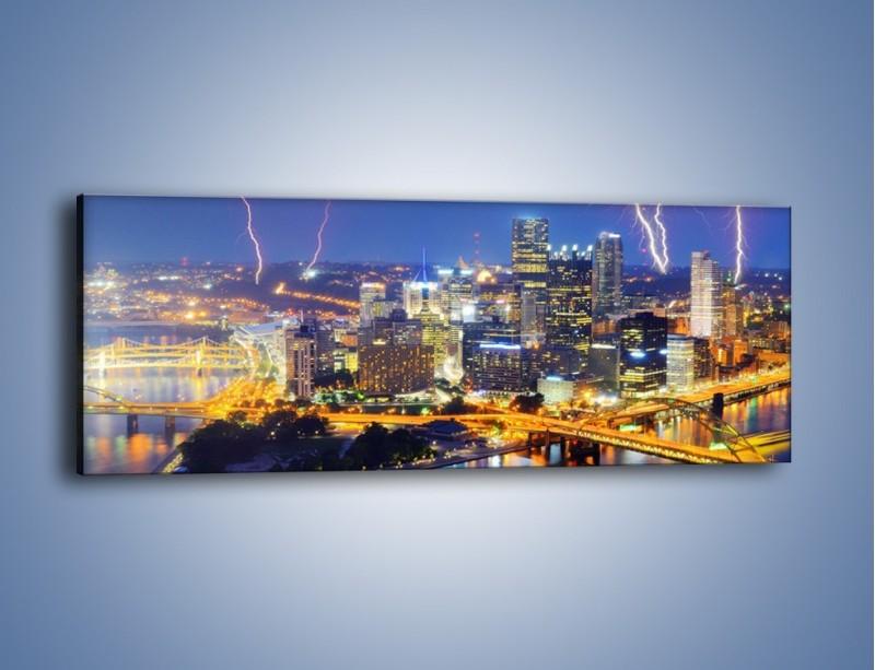 Obraz na płótnie – Burza nad Pittsburgiem – jednoczęściowy panoramiczny AM410