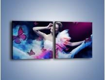 Obraz na płótnie – Bajkowy spacer z motylami – dwuczęściowy kwadratowy poziomy L127