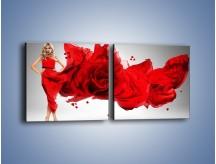 Obraz na płótnie – Czerwona róża i kobieta – dwuczęściowy kwadratowy poziomy L144
