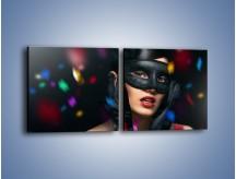Obraz na płótnie – Bal w czarnych maskach – dwuczęściowy kwadratowy poziomy L177