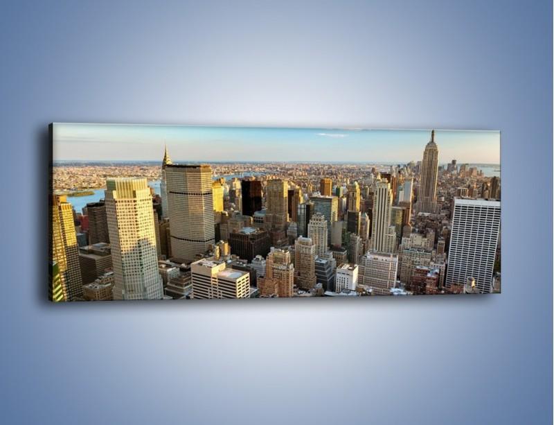 Obraz na płótnie – Manhattan w Nowym Yorku – jednoczęściowy panoramiczny AM412