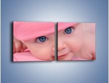 Obraz na płótnie – Bobas w różowej czapeczce – dwuczęściowy kwadratowy poziomy L256