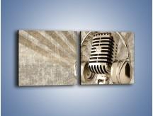 Obraz na płótnie – Głos w srebrnym mikrofonie – dwuczęściowy kwadratowy poziomy O026