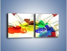 Obraz na płótnie – Kolory pędzlem malowane – dwuczęściowy kwadratowy poziomy O046