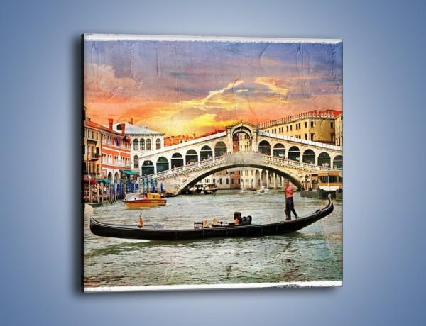 Obraz na płótnie – Most Rialto w Wenecji w stylu vintage – jednoczęściowy kwadratowy AM711