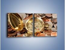Obraz na płótnie – Kompas zatopiony w monetach – dwuczęściowy kwadratowy poziomy O089