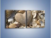 Obraz na płótnie – Miłość do muszli i morza – dwuczęściowy kwadratowy poziomy O132