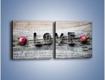 Obraz na płótnie – Miłość pachnąca różami – dwuczęściowy kwadratowy poziomy O146