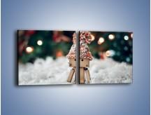 Obraz na płótnie – Mały ludek zimową porą – dwuczęściowy kwadratowy poziomy O166