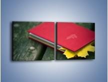 Obraz na płótnie – Książka z jesiennym akcentem – dwuczęściowy kwadratowy poziomy O167