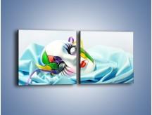 Obraz na płótnie – Kolorowa maska na błękicie – dwuczęściowy kwadratowy poziomy O180