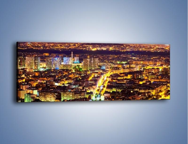 Obraz na płótnie – Kolory Paryża nocą – jednoczęściowy panoramiczny AM419
