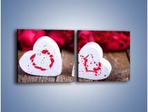 Obraz na płótnie – Dwa idealnie pasujące serca – dwuczęściowy kwadratowy poziomy O211