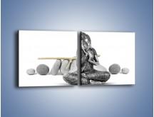 Obraz na płótnie – Budda wśród szarości – dwuczęściowy kwadratowy poziomy O220