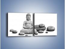 Obraz na płótnie – Budda wśród kamieni – dwuczęściowy kwadratowy poziomy O229