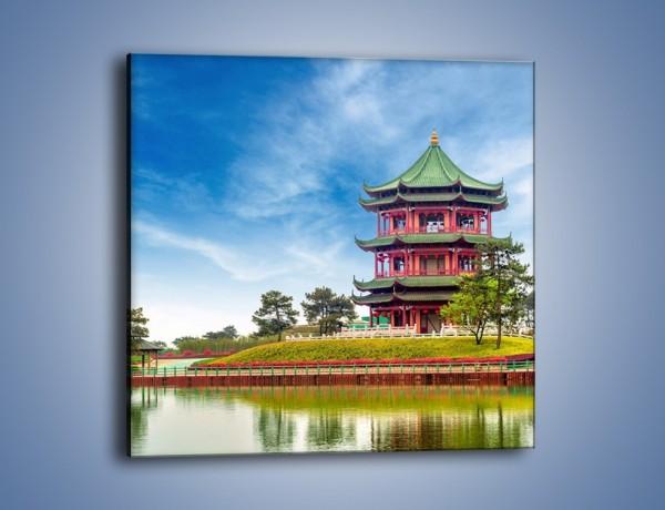 Obraz na płótnie – Chiński ogród w Singapurze – jednoczęściowy kwadratowy AM715