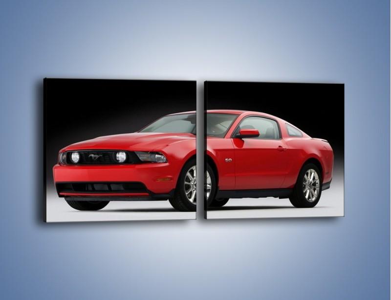 Obraz na płótnie – Czerwony Ford Mustang GT – dwuczęściowy kwadratowy poziomy TM052