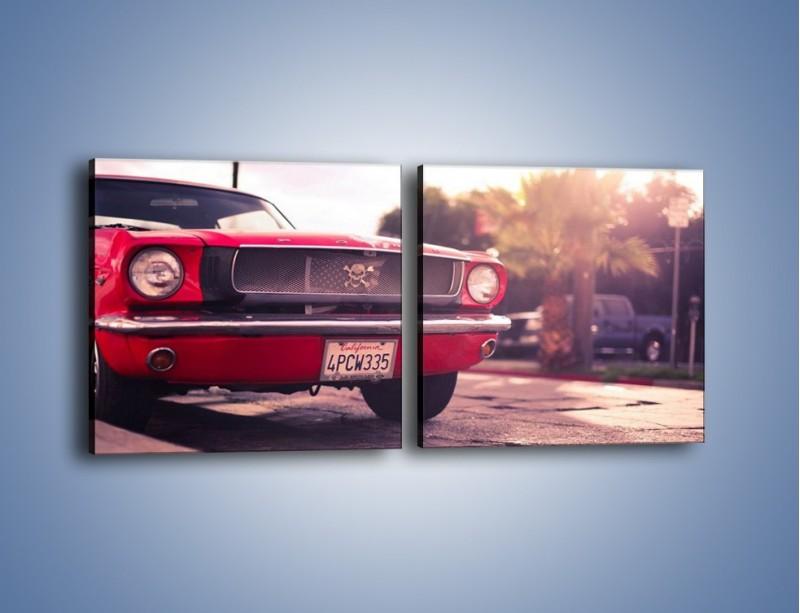Obraz na płótnie – Czerwony Ford Mustang – dwuczęściowy kwadratowy poziomy TM087