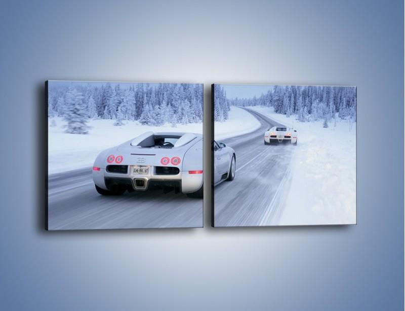 Obraz na płótnie – Bugatti Veyron w śniegu – dwuczęściowy kwadratowy poziomy TM134