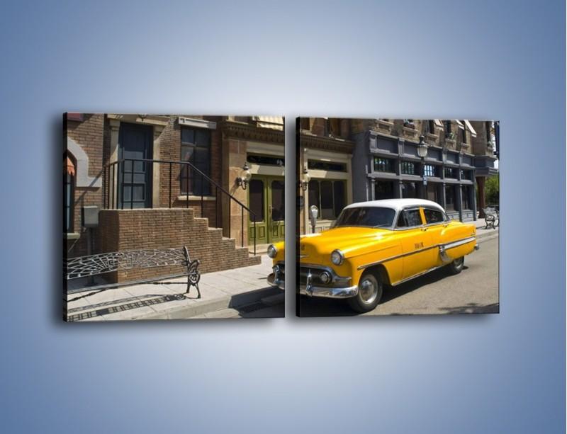 Obraz na płótnie – Amerykańska taksówka z lat 53 – dwuczęściowy kwadratowy poziomy TM164