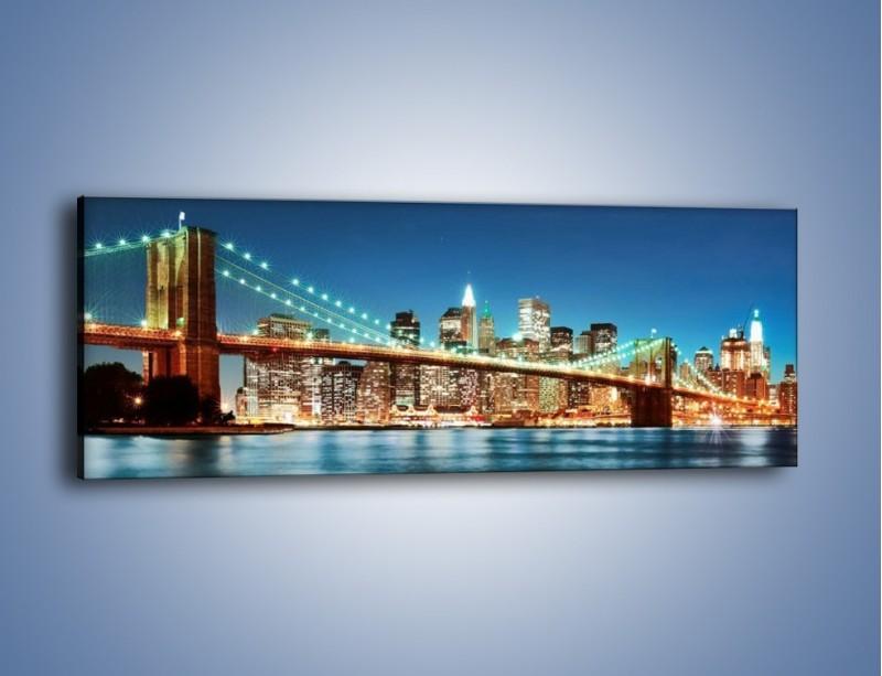 Obraz na płótnie – Most Brookliński na tle Nowego Jorku – jednoczęściowy panoramiczny AM428