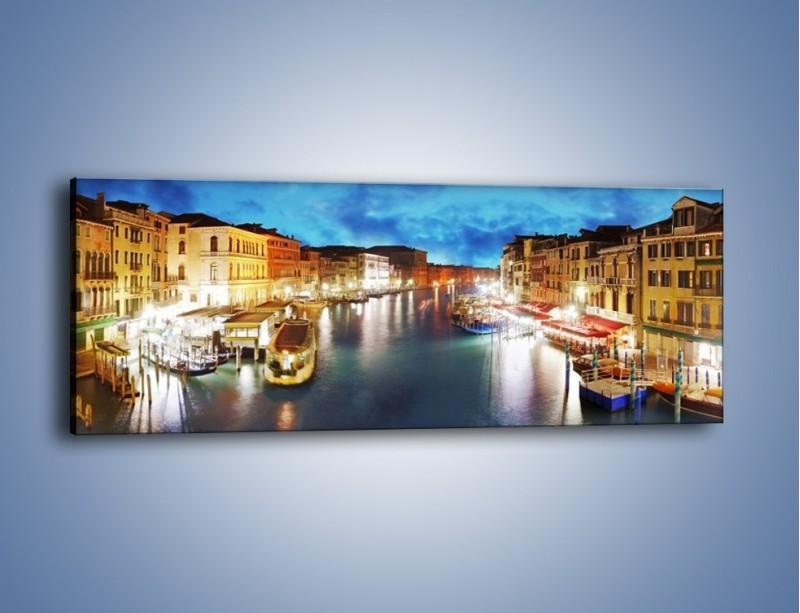 Obraz na płótnie – Światła Wenecji po zmroku – jednoczęściowy panoramiczny AM430