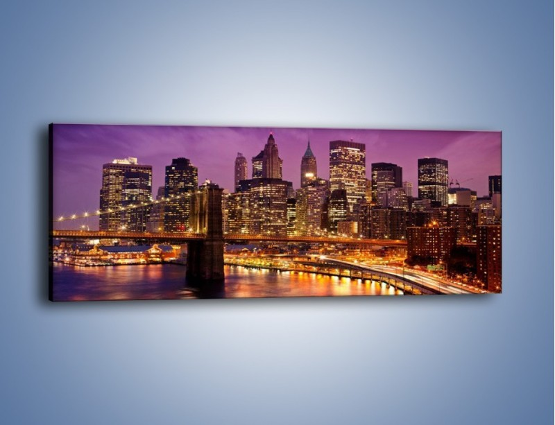 Obraz na płótnie – Nowy York pod fioletowym niebem – jednoczęściowy panoramiczny AM434
