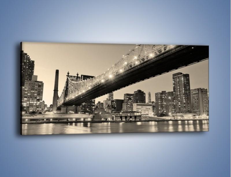 Obraz na płótnie – Most Qeensboro w Nowym Yorku – jednoczęściowy panoramiczny AM438