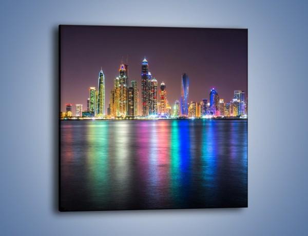 Obraz na płótnie – Kolorowe drapacze chmur w Dubaju – jednoczęściowy kwadratowy AM724