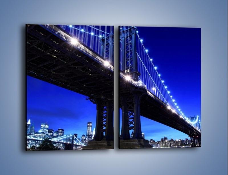 Obraz na płótnie – Oświetlony most wieczorem – dwuczęściowy prostokątny pionowy AM003