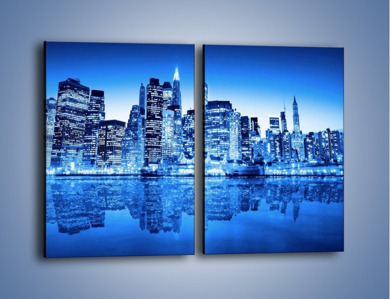 Obraz na płótnie – Odbicie miasta w tafli wody – dwuczęściowy prostokątny pionowy AM004