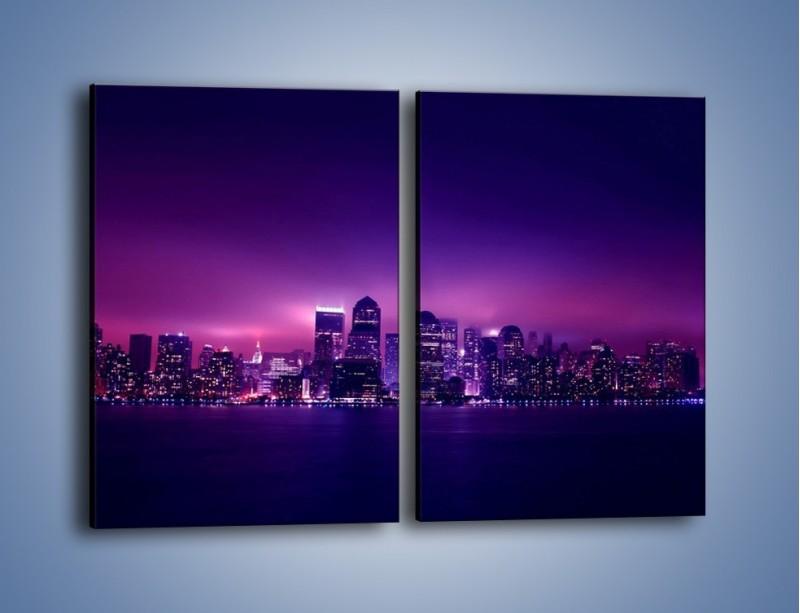 Obraz na płótnie – Wieżowce w odcieniach fioletu – dwuczęściowy prostokątny pionowy AM008