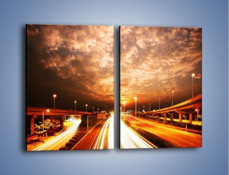 Obraz na płótnie – Oświetlona autostrada w ruchu – dwuczęściowy prostokątny pionowy AM021